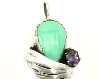 Turquoise and Amethyst Sterling Silver Pendant