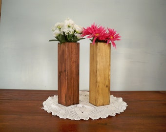 Pair Of Decorative Wood Vase,Decorative Wood Box, Wood Centerpiece, Decorative Centerpiece,Table Center Piece, Rustic Wood Box
