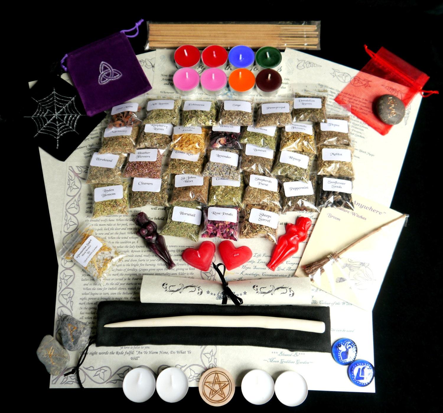 Witches starter kit with willow wand herbs and leaflets for Wand making kit