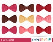 80% OFF SALE Girl Bows Pink Brown Chevron Cute Clip Art, Instant Download, Commercial Use