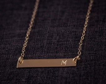 Gold Filled  Bar Personal initial Necklace - Gold Initial, Personal Initial, Eternity Circle,   Letter Necklace, Initial Necklace