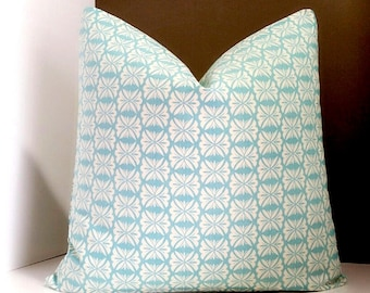 Aquamarine outdoor pillow cover - Fabric both sides-