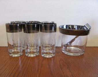 Dorothy Thorpe Style Silver Rimmed Glasses Ice Bucket
