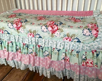 BUMPERLESS Pink Navy Aqua Floral Shabby Chic Custom Crib Bedding