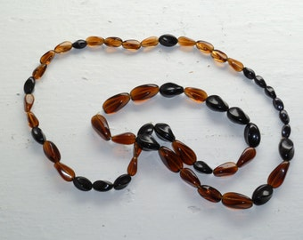 Vintage Glass Amber and Brown Bead Necklace, Various Shapes and Sizes, Deep Amber and Dark Brown Beads, Root Beer Color