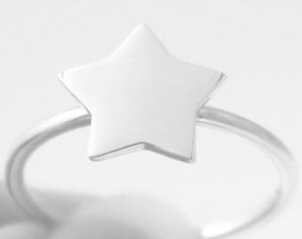 Sterling Silver Star Intention Ring, Stacking ring, Statement ring, symbol, Cosmos, cocktail ring, gift under 20, HeartCore Design