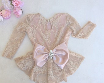 Blush Pink Champagne Girls Peplum Top with Bow - Children - Peplum Top with Long Sleeves by Isabella Couture