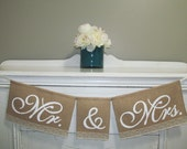 Mr and Mrs Signs - Wedding Reception Table Sign - Mr and Mrs Chair Sign - Bride and Groom Sign - Mr Mrs Burlap Banner - Wedding Decorations