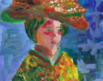 Original Acrylic Painting: Lady in a Floral Hat