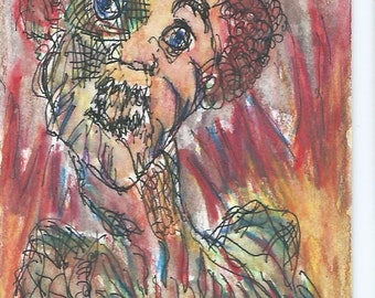 Original ACEO Watercolor and Ink Painting- My Furious Teacher
