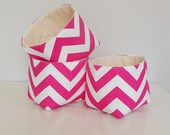 Chevron Fabric Basket Organizers in Candy Pink and White Zig Zag - Set of 3 Bins
