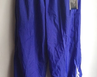 Deadstock Reebok Trackpants Blue White 1990s Size Youth XL