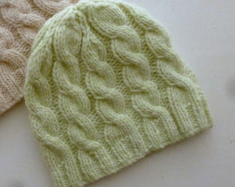 Soft cosy baby hat with cables, choice of green or yellow, hand knitted Winter baby hat, nice baby gift - boy or girl