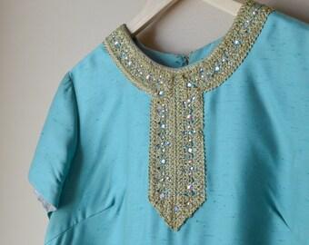 1960s Embellished Shift Dress - Large