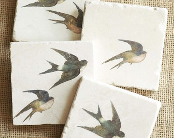 Swallow Coaster Set, Flying Bird Gift, Bird Decor, Bird Gift, Swallow Decor, Bird Tile, Bird Flying Gift, Gardener Gift, Flying Bird Decor
