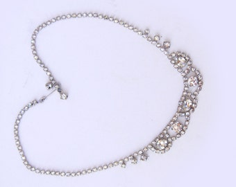 Vintage Rhinestone Necklace - Choker with Large Stones - Vintage Jewelry - Wedding Necklace - Bride Jewelry - Bridal Bridesmaids Gift
