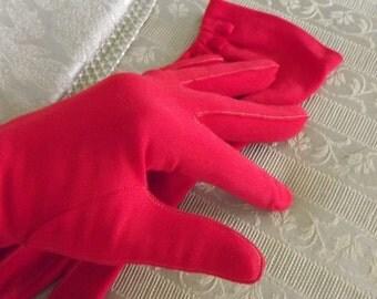 Delightful Short Red Vintage Dress Gloves, Sz 6.5
