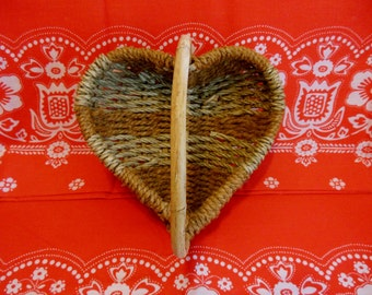 HEART Shaped Basket * Wedding Basket * Heart Shaped Woven Basket with Handle * Woven Seagrass and Hemp Basket * Unusual Unique Basket