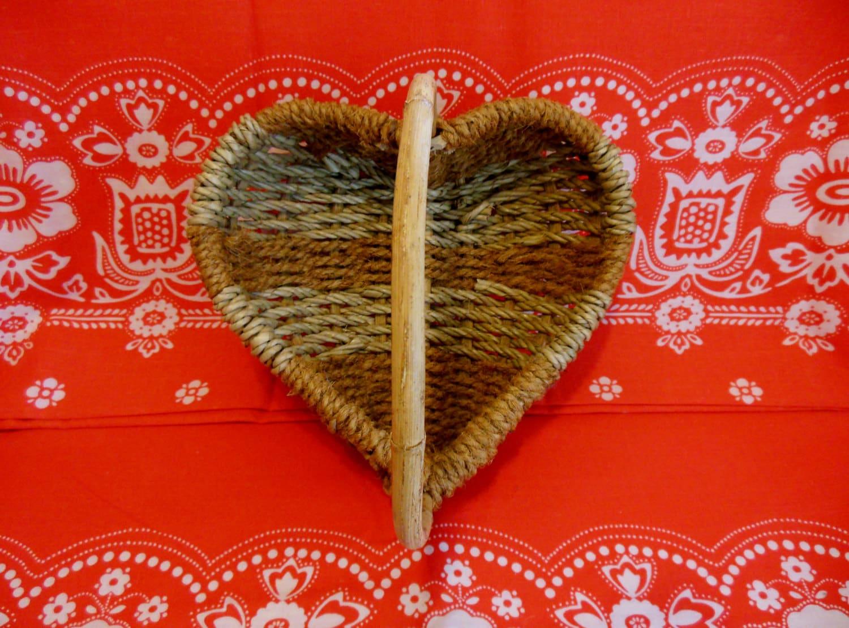 Handmade Heart Basket : Handmade heart shaped basket woven with handle