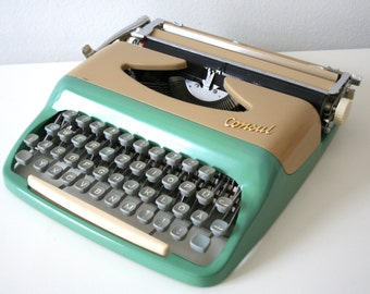 SUMMER SALE 30% OFF!!  Vintage. Consul. Typewriter. Green-blue/beige- Made in Czechoslovakia (TY105)