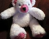 Teddy Bear - White with Pink Highlights - *****Custom Order for GaryTNeal*******