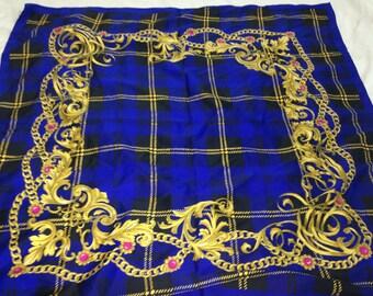 blue plaid royalty scarf