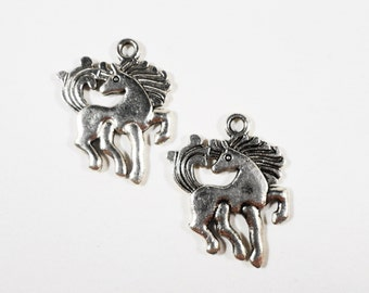 Silver Horse Charms 24x18mm Antique Silver Metal 2 Sided Pony Charms, Animal Charms, Western Charms, Horse Pendants, Jewelry Making 10pcs