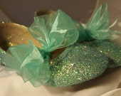 SPECIAL BLUE Glitter Shoes~CLEARANCE Sale~Girls 3 ~With Ribbon Bows~Wedding Shoes~Flower Girl Shoes~Fast Shipping!