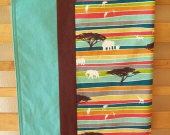 Organic Baby Blanket, Receiving Blanket ~ Savannah ~ Elephants, Giraffes, Safari, Ready to Ship