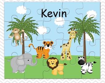 Jungle Personalized Puzzle, Personalized Jungle Puzzle, Personalized Kids Puzzle