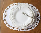 Cozymom Handmade White Wedding Placemat Table Doily Runner,Embroidery&Lace Linen 45x34cm