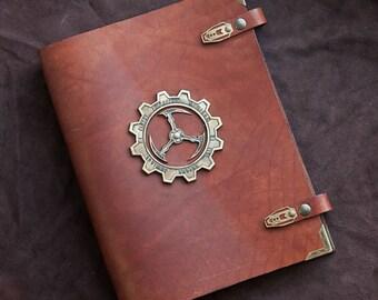 Steampunk leather binder 'Keeper's Wisdom'