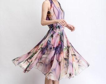 print chiffon dress,knee length dress, women' dress, summer dress  slim fit dress nice quality