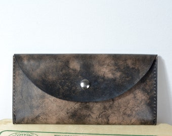 Wallet leather clutch patina dream (black)