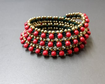 Coral Dark Green Brass Wrap Bracelet