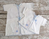 Vintage Baby Flannel Jackets, set of two, baby flannel top, baby flannel robe, applique bunny, cream, pastel blue, pink