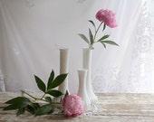 Vintage White Hoosier Vases, Set of 3 Hoosier Vases, Milk glass Hoosier Vases, vintage wedding decor, cottage chic vases