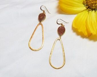 Bronze Bezeled Drop Earrings