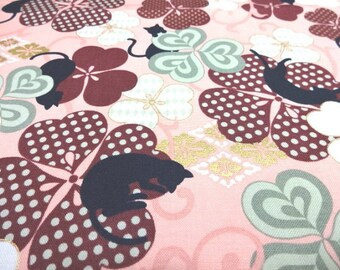 Japanese Fabric QUILT GATE Clover Black cat  Pink Fat Quarter