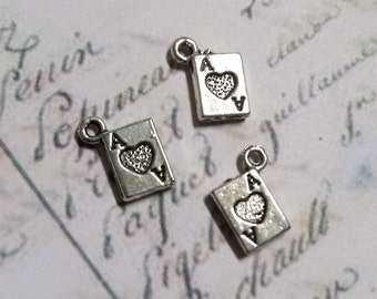 Card Charms Playing Card Charms Antiqued Silver Ace of Hearts Miniature Charms Tiny Charms Poker Charms Wholesale 50 pieces