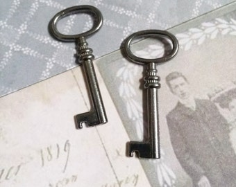 Bulk Skeleton Keys Wholesale Keys Black Gunmetal Keys Barrel Keys Key Charms Pendants 41mm 100pcs