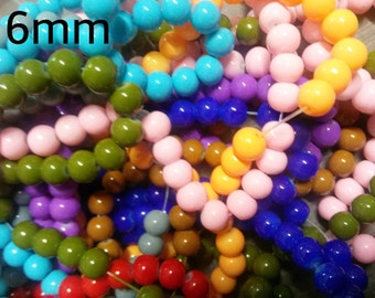 Bulk Beads Assorted Colors Wholesale Beads Glass Beads 20 Strands 2720 pieces 6mm
