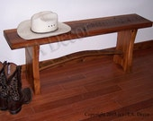 Reclaimed Wood Plank Bench with Wine Stave Cross Brace - Barnwood bench with wine stave base
