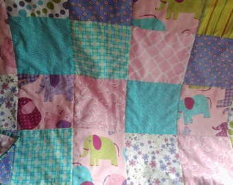 Pink Elephant Baby Quilt, Pink Elephant Nursery Quilt, Pink, Turquoise, and Purple Crib Quilt, Elephant Nursey Bedding