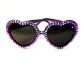 Sparkly AMETHYST Heart Shaped Sunglasses - Purple Embellished Rainbow Heart Sunnies - Pin Up Rockabilly Festival Eyewear