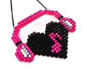 Sparkly Headphones Heart Necklace - Custom Colour Music Note Heart with Headphones Jewellery - Hot Pink Bling Musician DJ Rhinestone Jewelry