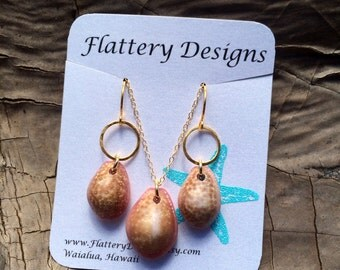 Honey Cowrie Shell Earring and Necklace Set