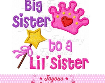 Instant Download Big Sister to a Little Sister Applique Embroidery Design NO:1724