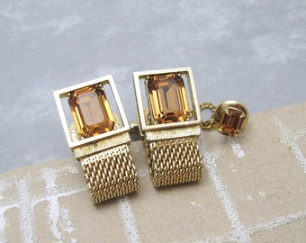 Rhinestone Cufflinks Tie Tack Set Golden Topaz Mens Vintage Jewelry H729