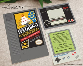 Geek Wedding Invitations, Nintendo NES Cartridge Mario Inspired, Nerd Couple Wedding, Game Boy Classic, Gamer Party, Gamer Wedding